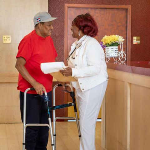 Nurse and patient in Queens, NY