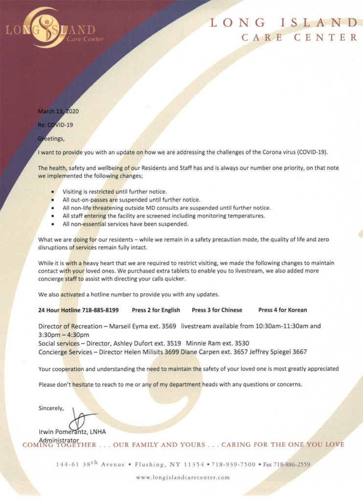 COVID-19 letter