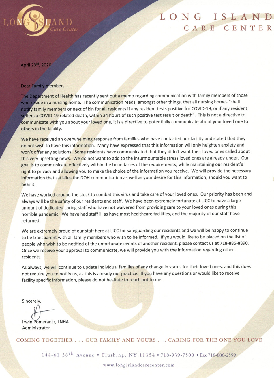 COVID-19 Family Communication Letter